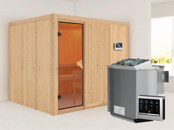 Systemsauna Gobin bronzierte Ganzglastür, inkl. 9 kW Bio-Kombiofen ext. Steuerung
