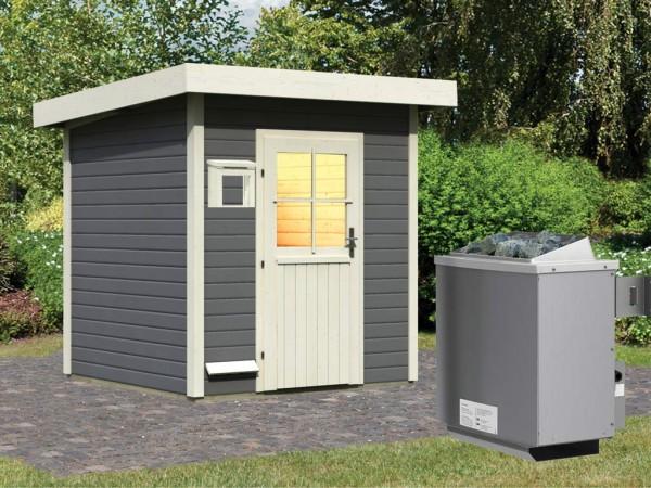 Saunahaus Taina Grau mit Holztür, inkl. 9 kW Saunaofen mit integrierter Steuerung