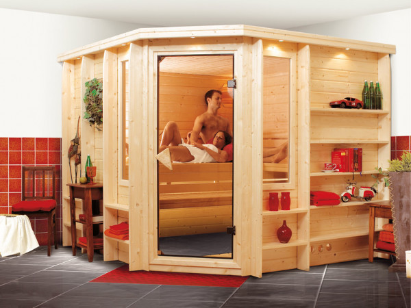Sauna Massivholzsauna Marona mit bronzierter Glastür