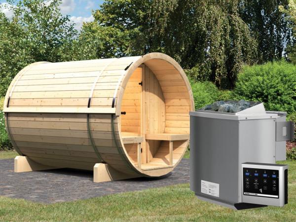 "Saunafass ""Fass-Sauna 2"" inkl. 9 kW Bio-Kombiofen ext. Steuerung"