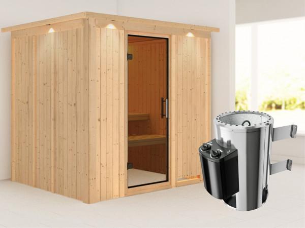 Sauna Systemsauna Daria mit Dachkranz, graphit Ganzglastür + Plug & Play Saunaofen mit Steuerung