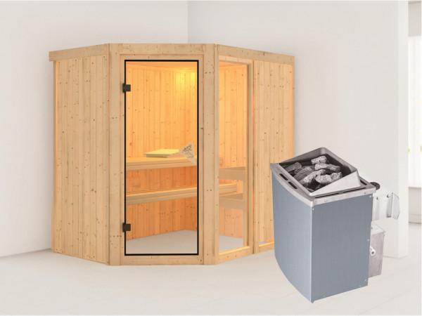Sauna Systemsauna Fiona 1 inkl. 9 kW Saunaofen integr. Steuerung