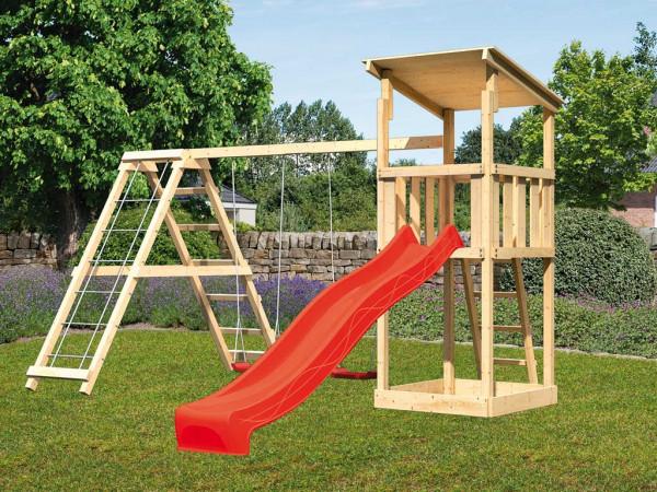 Spielturm SET Anna naturbelassen inkl. Rutsche rot + Doppelschaukel mit Klettergerüst