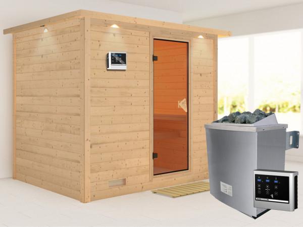 Massivholzsauna Sonara mit Dachkranz, bronzierte Ganzglastür, inkl. 9 kW Ofen ext. Steuerung