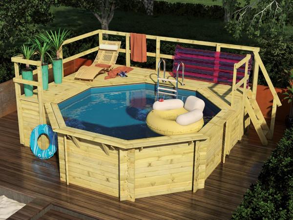 Pool Holzpool Modell F 1 mit Sonnenterrasse groß + klein und Geländer, kesseldruckimprägniert