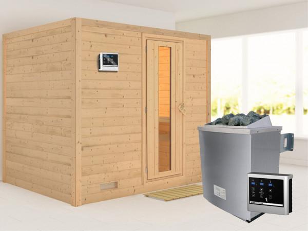 Massivholzsauna Sonara Holztür mit Isolierglas, inkl. 9 kW Saunaofen ext. Steuerung