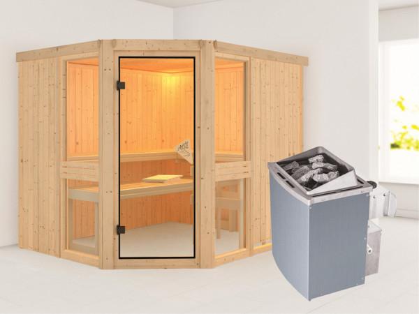 Sauna Systemsauna Amelia 3 inkl. 9 kW Saunaofen integr. Steuerung