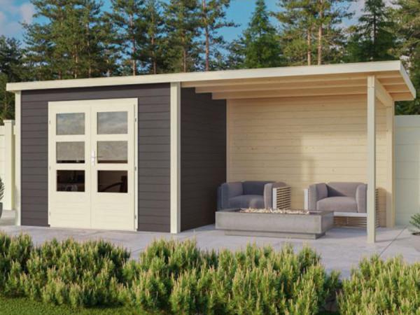 Gartenhaus Wacken 5 28 mm terragrau inkl. 3 m Anbau + Rückwand