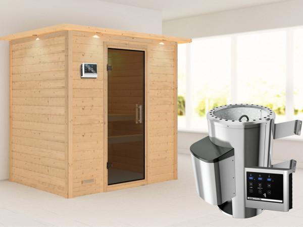 Sauna Massivholzsauna Ronja mit Dachkranz, graphit Ganzglastür + Plug & Play Ofen mit ext. Strg