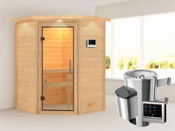 Sauna Massivholzsauna Alicja mit Dachkranz, Klarglas Ganzglastür + Plug & Play Ofen mit ext. Strg