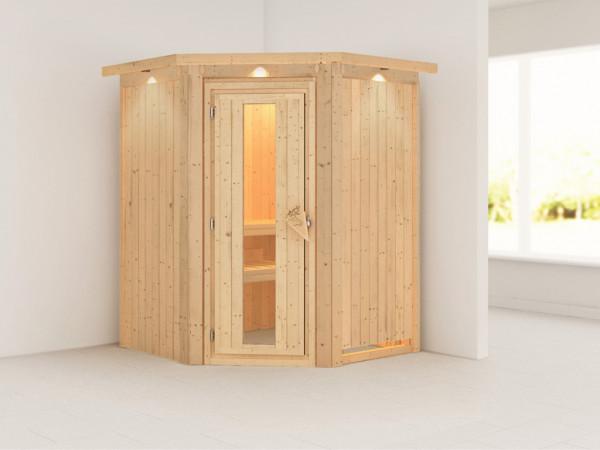 Systemsauna Larin mit Dachkranz, Holztür mit Isolierglas