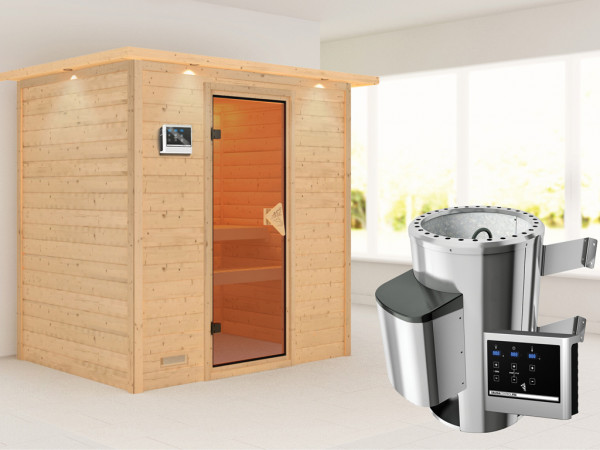 Sauna Massivholzsauna Ronja mit Dachkranz, inkl. Plug & Play Saunaofen externe Steuerung