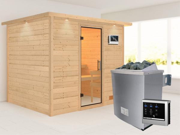 Sauna Massivholzsauna Karla mit Dachkranz, Klarglas Ganzglastür + 9 kW Saunaofen mit ext. Strg