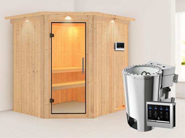 Sauna Systemsauna Lilja mit Dachkranz, Klarglas Ganzglastür + Plug & Play Bio-Ofen mit ext. Strg