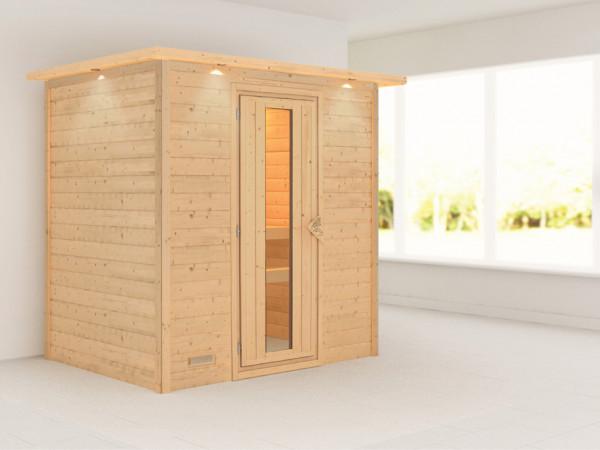 Sauna Massivholzsauna Ronja mit Dachkranz, Energiespartür