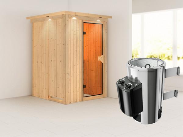 Sauna Systemsauna Lenja mit Dachkranz, inkl. Plug & Play Saunaofen Steuerung