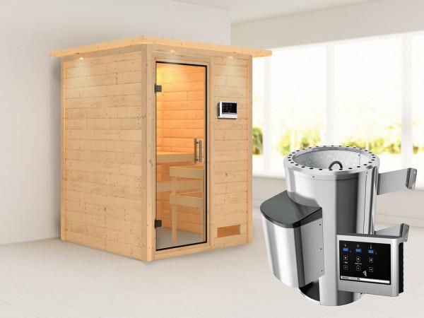 Sauna Massivholzsauna Nadja mit Dachkranz, Klarglas Ganzglastür + Plug & Play Ofen mit ext. Strg