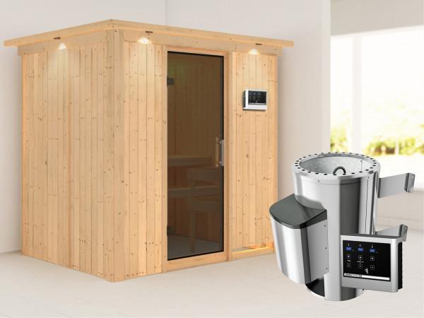 Sauna Systemsauna Fanja mit Dachkranz, graphit Ganzglastür + Plug & Play Saunaofen mit ext. Strg
