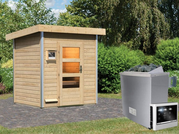 Saunahaus Jorgen mit Klarglastür, inkl. 9 kW Saunaofen mit externer Steuerung