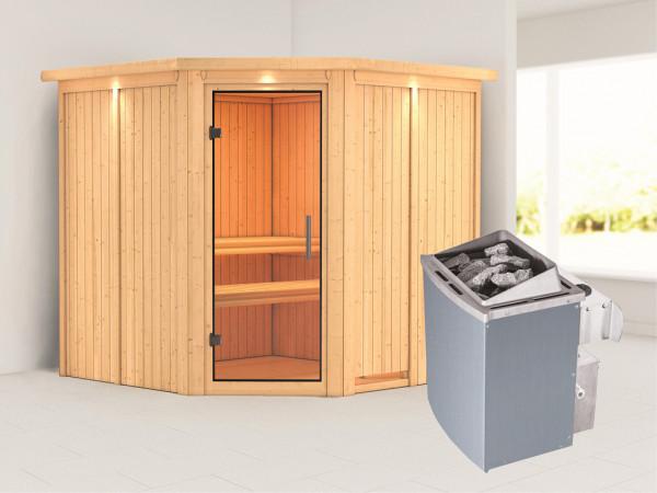 Sauna Systemsauna Jarin mit Dachkranz, Klarglas Ganzglastür + 9 kW Saunaofen mit Steuerung