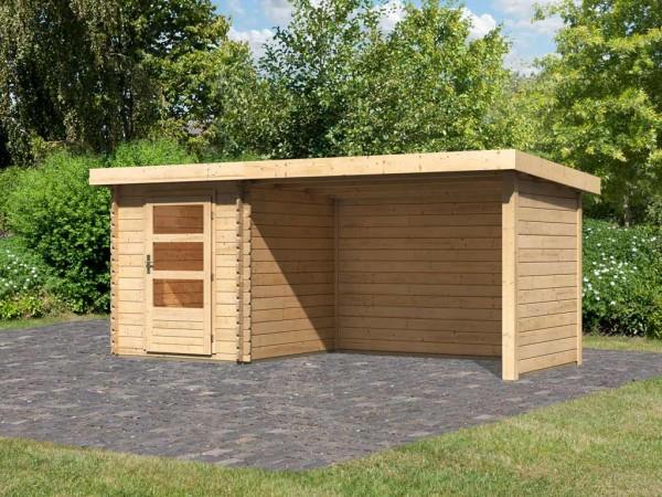 Gartenhaus Blockbohlenhaus SET Bastrup 1 28 mm naturbelassen, inkl. 3 m Anbaudach + Seiten-/Rückwand
