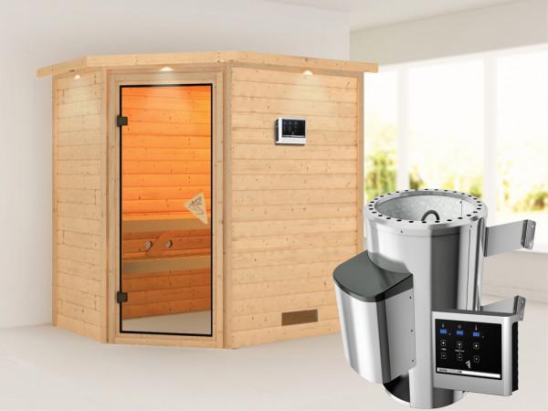 Sauna Massivholzsauna Cilja mit Dachkranz, inkl. Plug & Play Saunaofen externe Steuerung