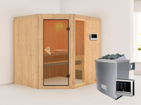 Sauna Systemsauna Fiona 2 inkl. 9 kW Saunaofen ext. Steuerung