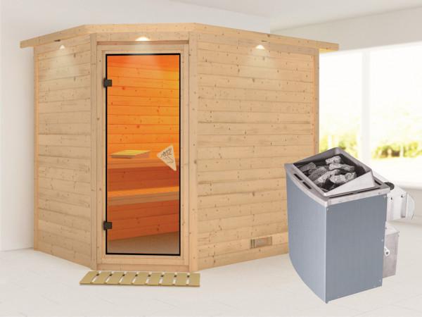 Sauna Massivholzsauna Tanami mit Dachkranz , inkl. 9 kW Saunaofen integr. Steuerung