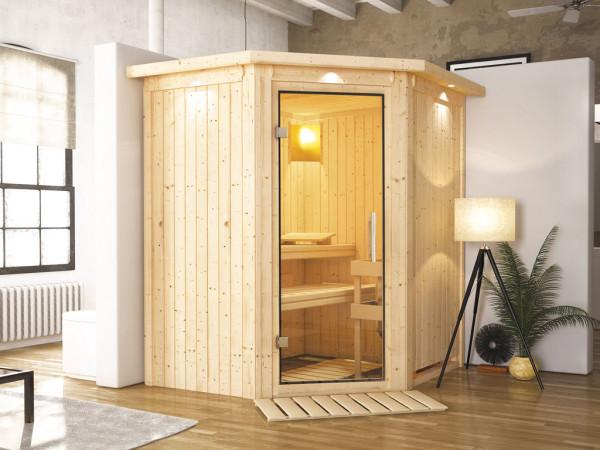 Sauna Systemsauna Tonja mit Dachkranz, Klarglas Ganzglastür