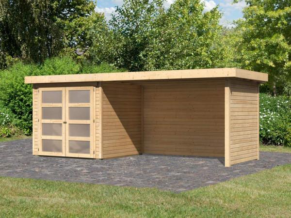 Gartenhaus SET Mühlendorf 2 ECO 19 mm naturbelassen, inkl. 2,8 m Anbaudach + Seiten- und Rückwand