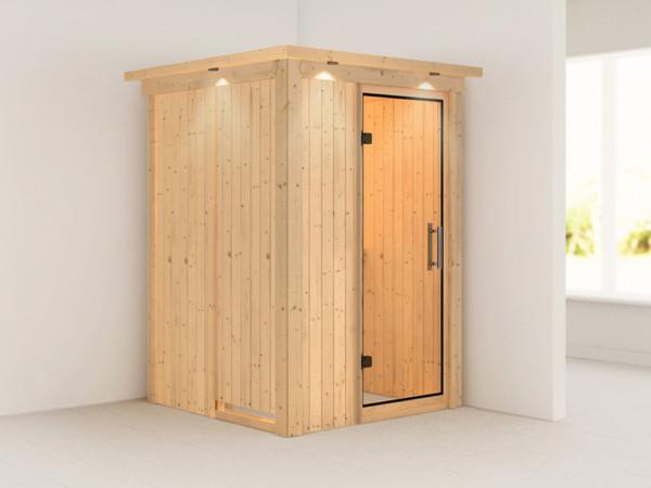 Sauna Systemsauna Lenja mit Dachkranz, Klarglas Ganzglastür