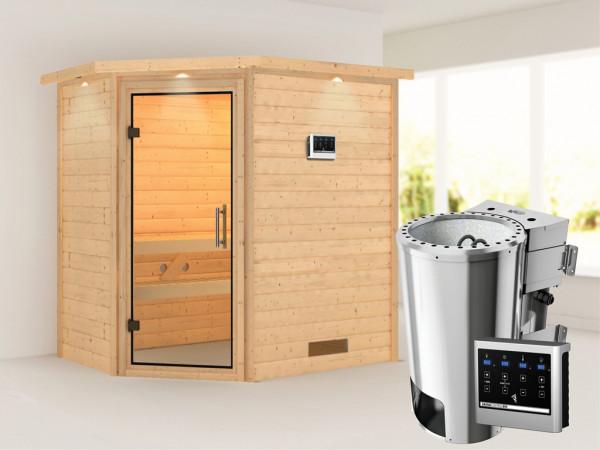 Sauna Massivholzsauna Cilja mit Dachkranz, Klarglas Ganzglastür, Plug & Play Bio-Ofen mit ext.Strg