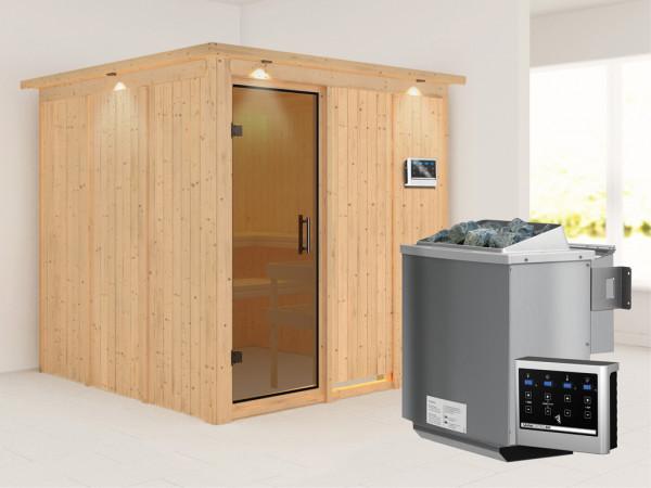 Systemsauna Rodin mit Dachkranz, graphit Ganzglastür, inkl. 9 kW Bio-Kombiofen ext. Steuerung