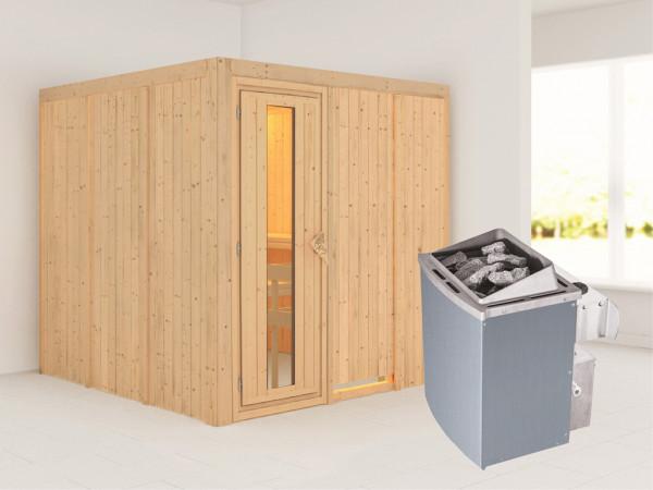 Systemsauna Rodin Holztür mit Isolierglas, inkl. 9 kW Saunaofen integr. Steuerung