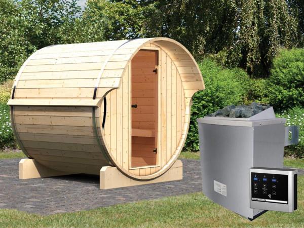 Saunafass Fass-Sauna 1 inkl. 9 kW Saunaofen ext. Steuerung