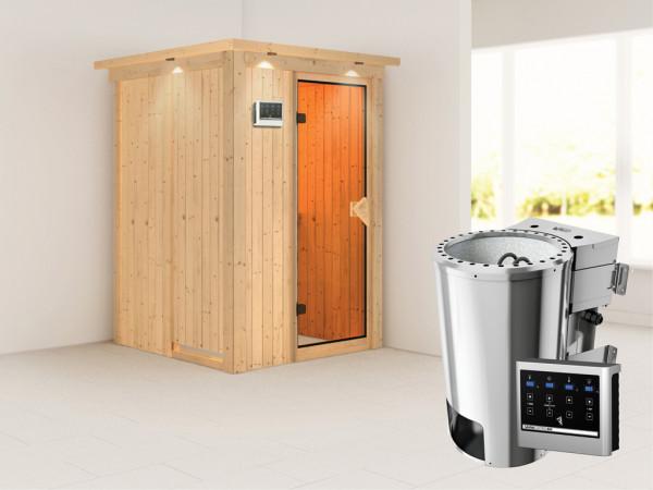 Sauna Systemsauna Lenja mit Dachkranz, inkl. Plug & Play Bio-Ofen externe Steuerung