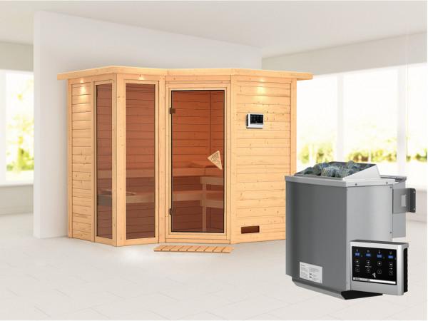 Sauna Massivholzsauna Amara mit Dachkranz inkl. 9 kW Bio-Kombiofen ext. Steuerung
