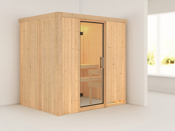 Sauna Systemsauna Fanja Klarglas Ganzglastür