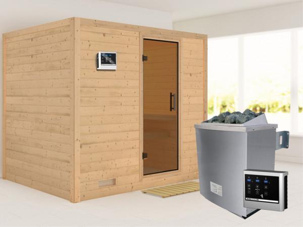 Massivholzsauna Sonara graphit Ganzglastür, inkl. 9 kW Saunaofen ext. Steuerung