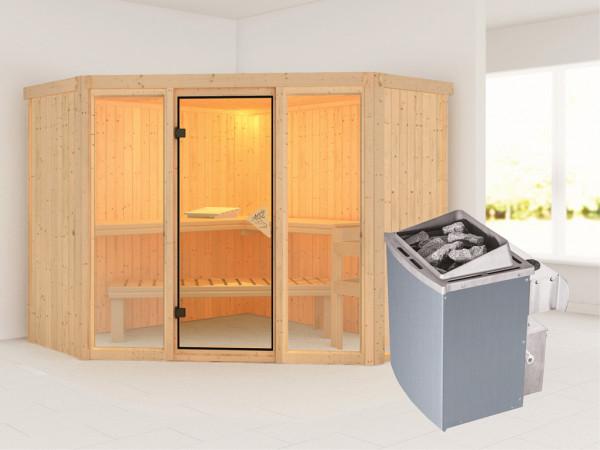 Sauna Systemsauna Flora 2 inkl. 9 kW Saunaofen integr. Steuerung