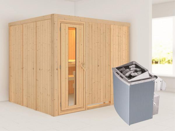 Systemsauna Gobin Holztür mit Isolierglas, inkl. 9 kW Saunaofen integr. Steuerung