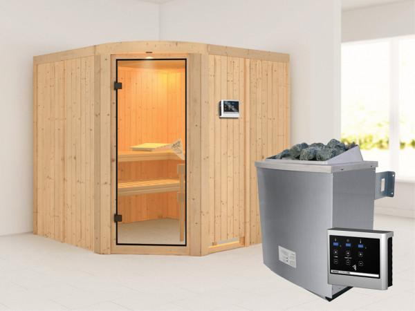 Sauna Systemsauna Aukura inkl. 9 kW Saunaofen ext. Steuerung