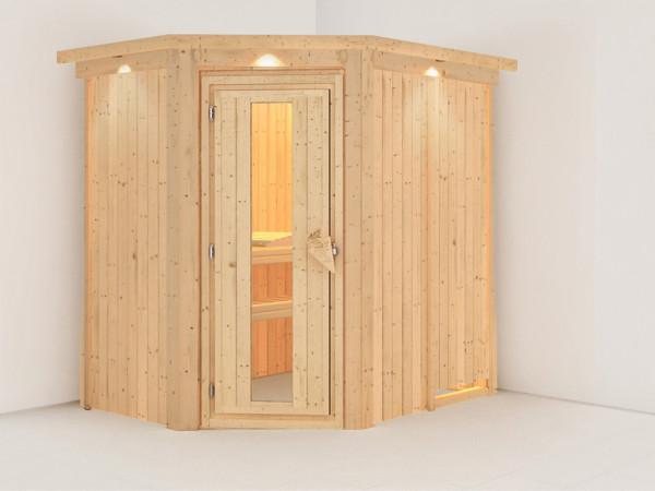 Systemsauna Carin mit Dachkranz, Holztür mit Isolierglas