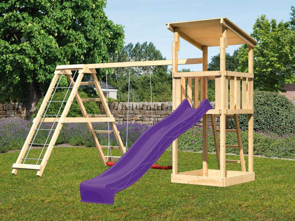 Spielturm SET Anna naturbelassen inkl. Rutsche violett + Doppelschaukel mit Klettergerüst