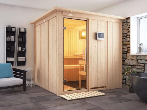 Sauna Systemsauna Rodin mit Dachkranz, Klarglas Ganzglastür + 9 kW Bio-Kombiofen mit ext. Strg