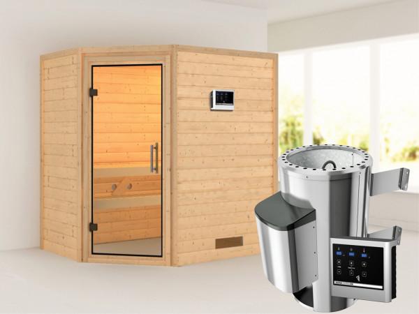 Sauna Massivholzsauna Cilja Klarglas Ganzglastür + Plug & Play Saunaofen mit externer Steuerung