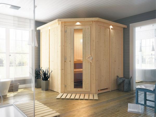 Systemsauna Jarin mit Dachkranz, Holztür mit Isolierglas