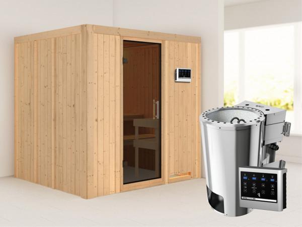 Sauna Systemsauna Daria graphit Ganzglastür + Plug & Play Bio-Ofen mit externer Steuerung