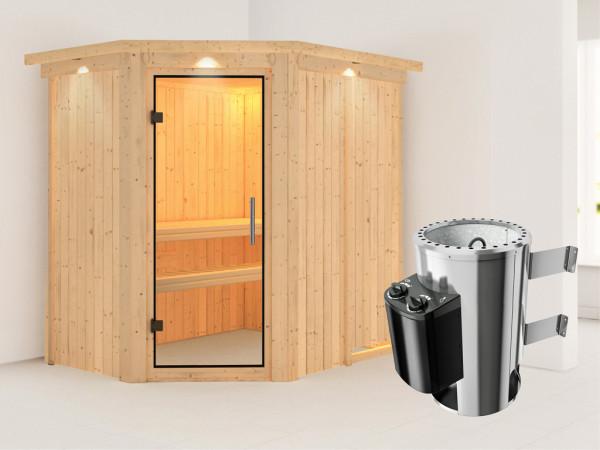 Sauna Systemsauna Saja mit Dachkranz, Klarglas Ganzglastür + Plug & Play Saunaofen mit Steuerung