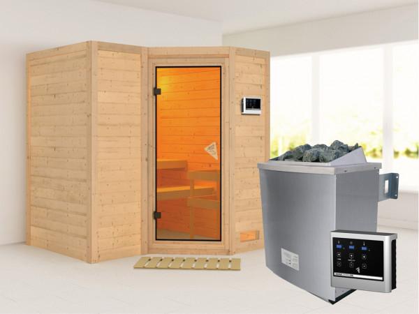 Massivholzsauna Sahib 1 bronzierte Ganzglastür, inkl. 9 kW Ofen ext. Steuerung